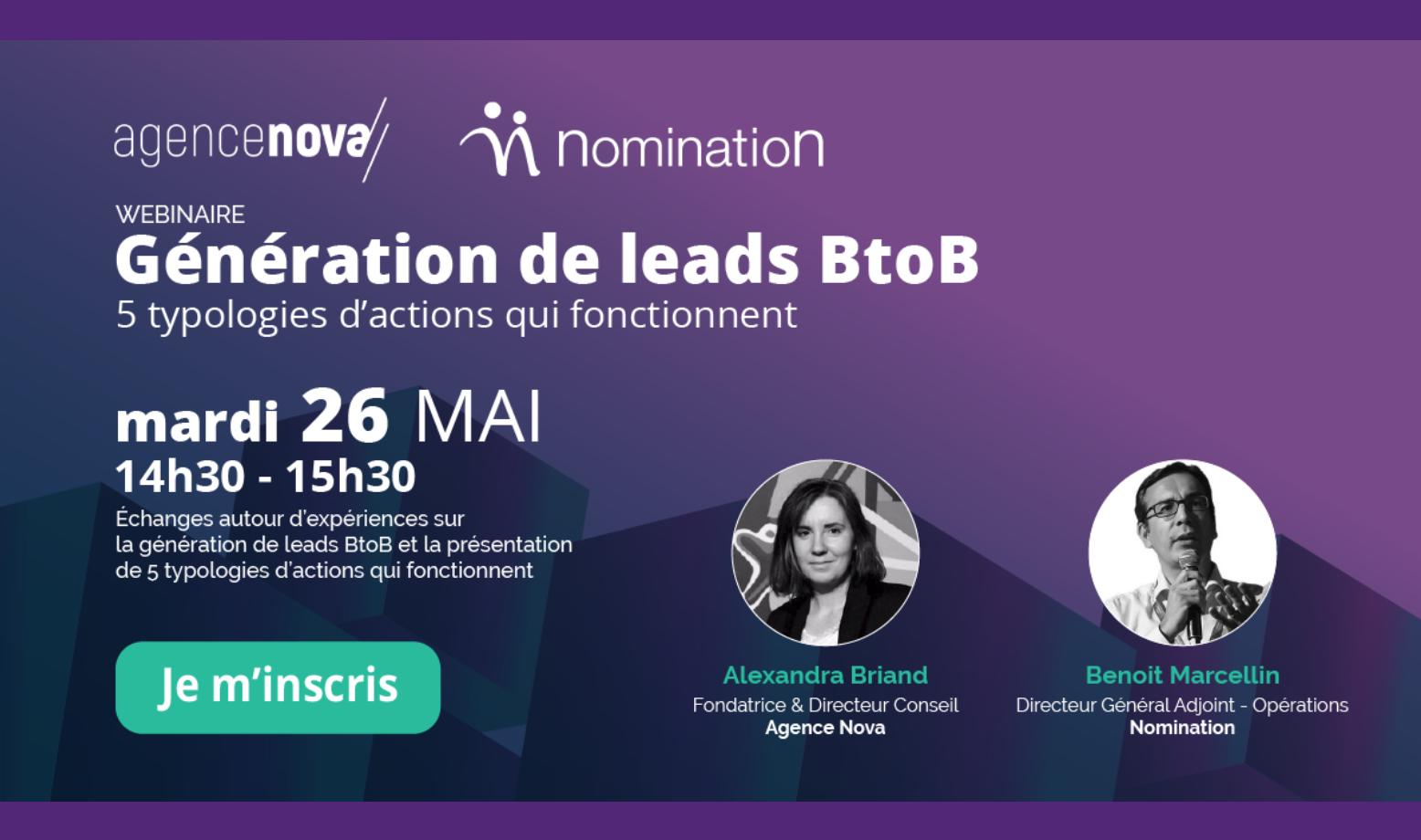 Évènement Webinar – Génération de leads BtoB en 2020 : 5 typologies d'actions qui fonctionnent Nomination
