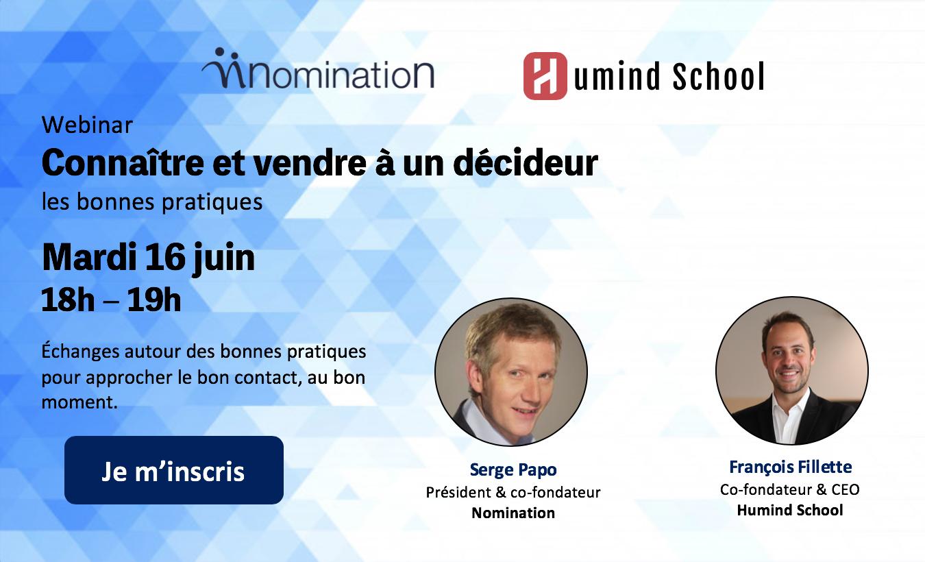 Évènement Webinar – Connaître et vendre à un décideur Nomination