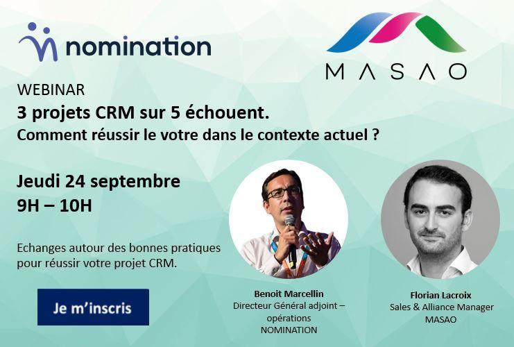 Évènement 3 projets CRM sur 5 échouent. Comment réussir le vôtre dans le contexte actuel ? – 24/09 Nomination