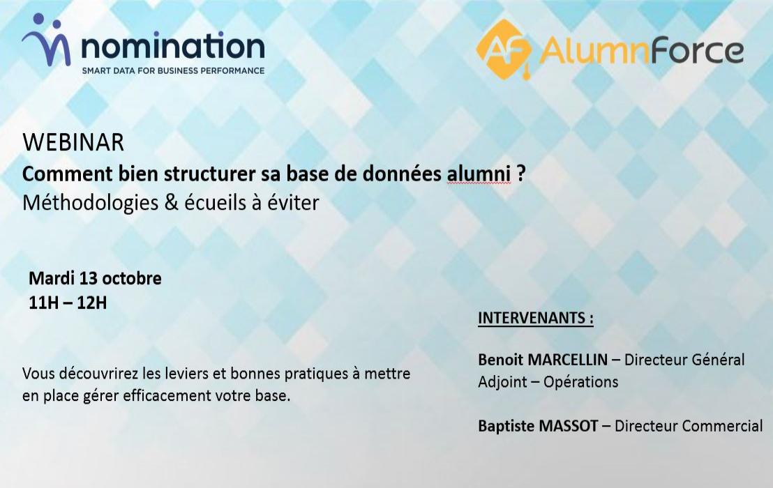 Évènement Comment bien structurer sa base de données alumni ? – 13/10 Nomination