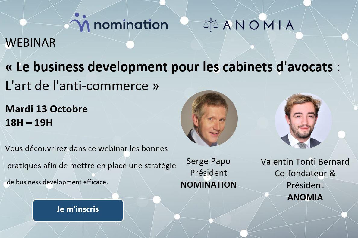 Évènement Replay – Le business dévelopment pour les cabinets d'avocats : L'art de l'anti-commerce Nomination