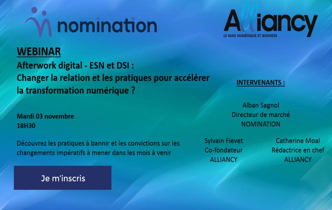 Évènement Webinar – ESN et DSI : changer la relation et les pratiques pour accélérer la transformation numérique ? Nomination